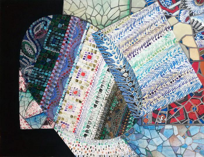 Marie Kresser-Verbois 2021 - Marquèterie mosaïque - acrylique et feutre sur papier