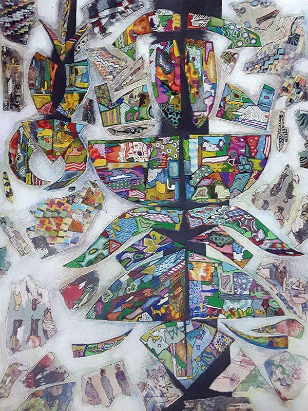 Marie Kresser-Verbois 2021 - Marquèterie mosaïque - acrylique, transferts, collages et feutre sur papier