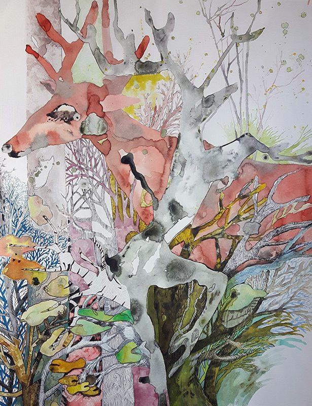 Marie Kresser-Verbois 2021 - Biche dans un sous-bois - lavis et feutre sur papier