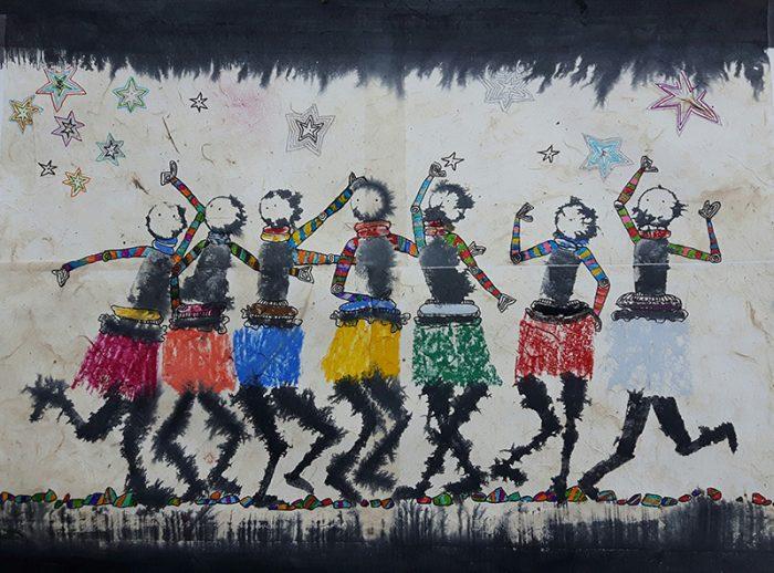 Marie Kresser-Verbois 2021 - Petites chanteuses de rue - Encre et collages sur papier