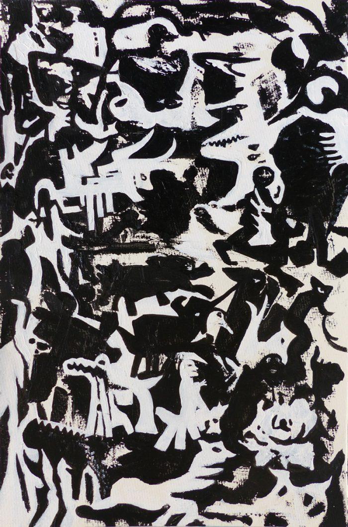 Mireille Vincent 2019 - Animaux au bouleau - Acrylique et feutre sur papier