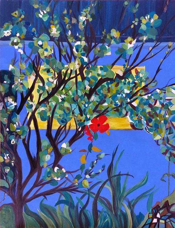 Mireille Vincent 2019 - Fleur à la fenêtre - Acrylique sur papier 50 x 65 cm