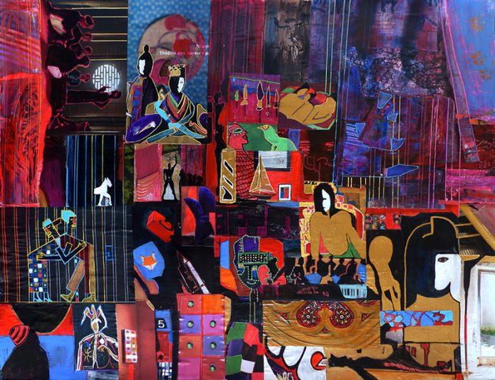 Mireille Vincent 2020 - Arbitraire ordonné - Acrylique, collages et feutre sur papier 50 x 65 cm