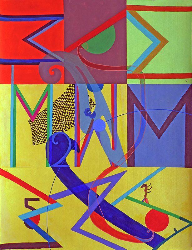 Mireille Vincent - Peinture en neuf mois - Acrylique sur papier 50 x 65 cm