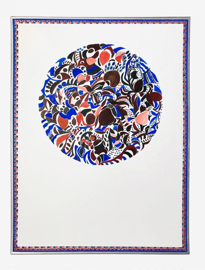 Mireille Vincent 2021 - Cercle, rectangle, et petits oiseaux - Acrylique sur papier 50 x 65 cm
