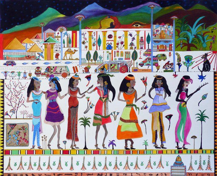 Mireille Vincent 2021 - Chanteuses de rue égyptiennes en tournée au Cap - Acrylique sur papier 50 x 65 cm