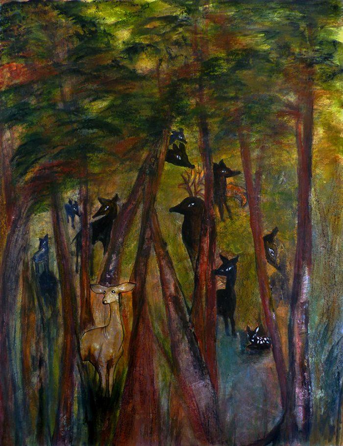 Mireille Vincent 2021 - Menace sur la biche dans le sous-bois - Acrylique sur papier 50 x 65 cm