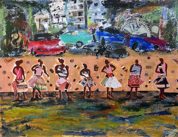 Mireille Vincent 2021 - Chanteuses de rue - Acrylique et collages sur papier 50 x 65 cm