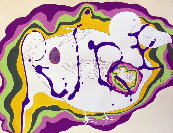 Mireille Vincent 2021 - Peinture en neuf mois N°9 (III) - Acrylique sur papier 50 x 65 cm