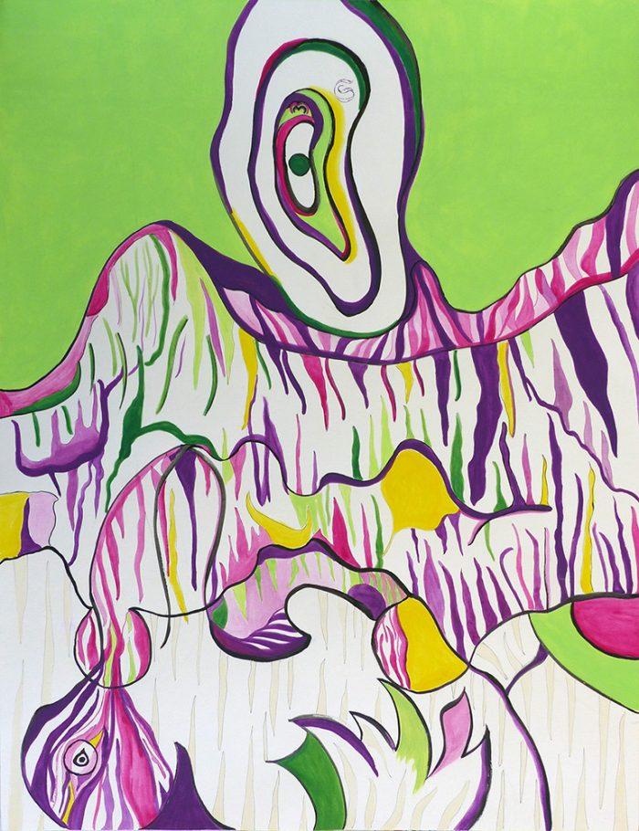 Mireille Vincent 2021 - Peinture en neuf mois N°9 (IV) Le cri - Acrylique sur papier 50 x 65 cm
