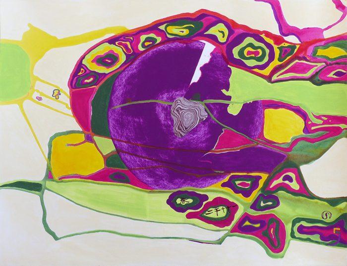 Mireille Vincent 2021 - Peinture en neuf mois N°9 (VI) - Acrylique sur papier 50 x 65 cm