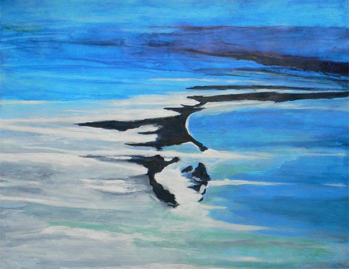 Yolande Bernard 2020 - Paysage liquide - Acrylique sur papier